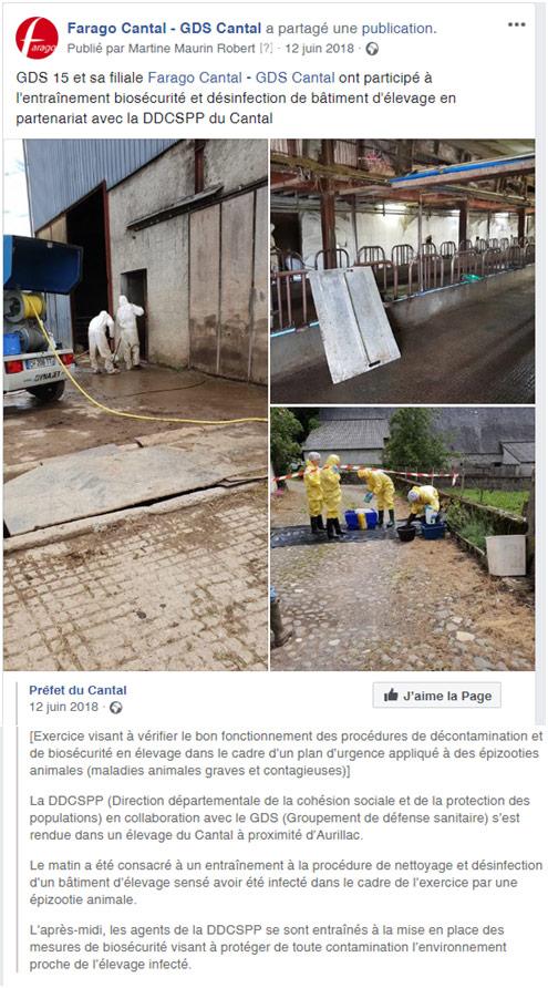 publication facebook - Farago Cantal - biosecurite
